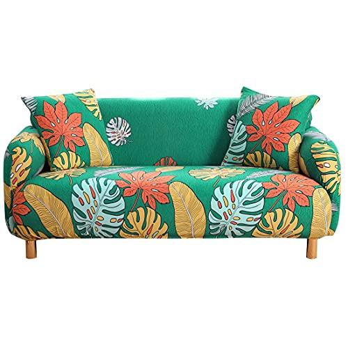Funda de sofá con Estampado de Hojas Pastoral, sofá en Forma de L, sofá de Diferentes Formas, sofá de Dos plazas, Sala de Estar, Dormitorio, Oficina, A5, 3 plazas