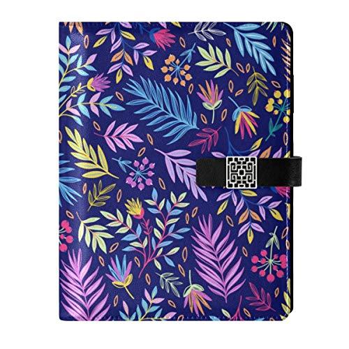 Cuaderno de piel para diario de viaje, hojas de palma tropicales, rellenables, tamaño A5, con anillas, tapa dura, para mujeres y hombres