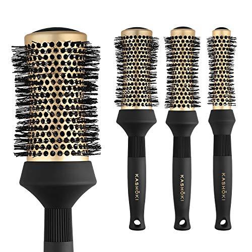 T4B KASHOKI Hourglass Brosse Ronde Professionnelle Pour Brushing Cheveux, Cylindre En Ceramique (Set 4 Pièces)