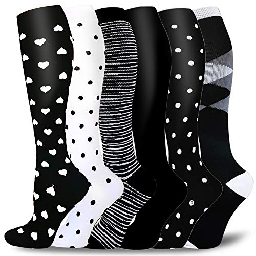 6 Pairs Graduated Compression Socks for Women&Men 20-30mmhg Knee High Sock(Multicoloured1A, S/M)