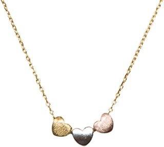 Handmade 3 Heart Necklace for Women Gold, Silver or Rose Gold Collection