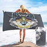 Toallas de playa de microfibra ligeras de secado rápido, diseño gráfico artístico colorido estampado Coyote Wolf Bestia, toalla de playa ligera para viajes, 27.5 x 55 pulgadas, gris, amarillo marino