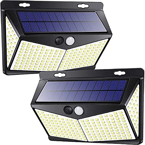 Solarlampen für außen mit bewegungsmelder,[2 Stück] 208 LED-Lichtsensor-Solarwandleuchte, IP65-Außenwandleuchte, 3 Modi 270° Beleuchtungswinkel Solarleuchte, Solarleuchte für Garten Innenhof Weg