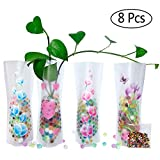 HGFF Collapsible & Expandable Plastic Vase 8 PCS and Water Beads(About 800PCS Reusable - for Travel, Vacations, Camping, Weddings, Table Decor