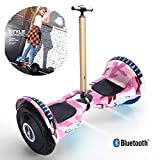 FLy Hoverboard 10' Scooter Eléctrico Self Balance Scooter Eléctrico con Pasamanos De Seguridad Regulable En Altura con Luces LED Bluetooth Modelo para Adultos Y Niños,Rosado