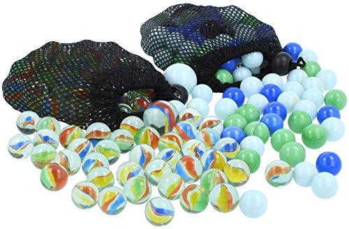 com-four® 200-teiliges Glasmurmel-Set - Glas-Murmeln zum Spielen und Sammeln - Spiele-Klassiker für Zuhause und unterwegs [Auswahl variiert] (200-teilig - Murmeln)