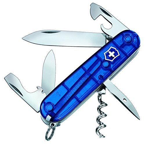 Victorinox Spartan Couteau de Poche Suisse, Léger, Multitool, 12 Fonctions, Lame, Ouvre Boite, Tire Bouchon, Bleu Transparent
