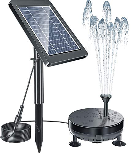 Pendoo Solar Fountain Pump, Solar Powered Water Fountain Pump Outdoor Built-in 1800mAh Battery with Night Work LED Lights, 6 Water Styles for Garden Pool Bird Bath Outdoors Ponds Solar Water Pump Kit