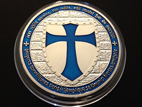 themacroknight Knights Templar Crusaders Blue Cross & Shield Coin