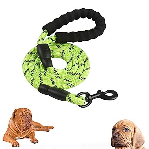 Guinzagli per Cani , 1.5m Comoda Impugnatura Imbottita e Altamente Riflettente Fili, Guinzaglio per Cani di Taglia Media e Grande (Verde)