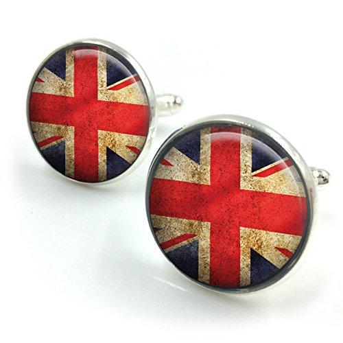 Versilbert Union Jack Flag Manschettenknöpfe| Union Jack Manschettenknöpfe| britische Flagge| London Flag| britische Flagge| Retro Manschettenknöpfe| Geschenk für Männer| Geschenk für Freund