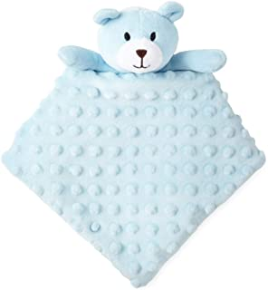 Okie Dokie Blue Teddy Bear Lovey Security Blanket for Baby