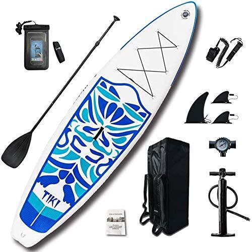 FANLIU Inflables Stand Up Paddle Sup Junta de PVC con Ajustable Paddle Mochila Bomba y la Parte Inferior de la Aleta for Todos los Niveles Jóvenes y Adultos de Tablas de Surf