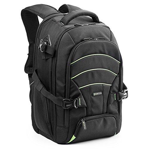Evecase Zaino Grande in Nylon per fotocamera reflex + Accessori e Laptop Fino a 15.6 pollici, Colore: Nero e Verde