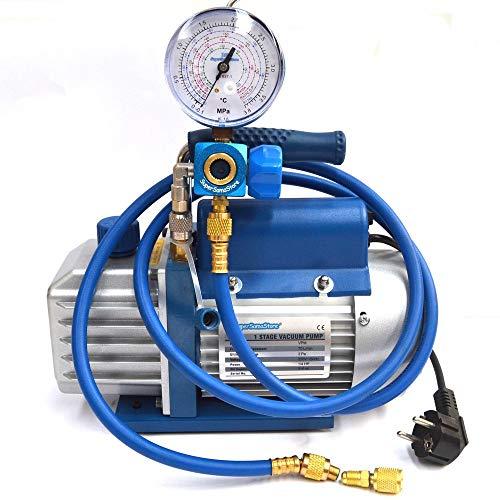Vakuumpumpe + SCHLÄUCHE + KÄLTEMANOMETER R410A R407C R134A R22 klimaanlage