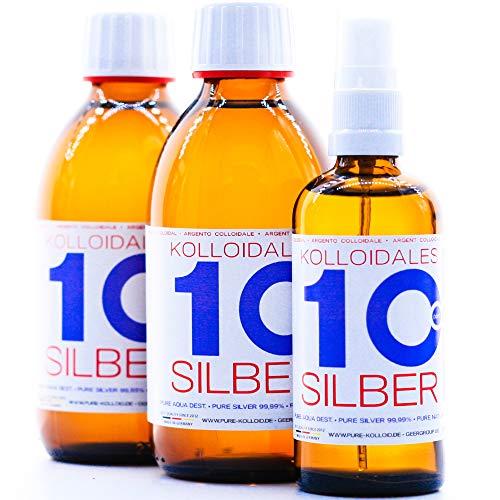 Kolloidales Silber 600ml 10ppm 2 * 250ml & Spray 100ml Silberwasser ● tgl. Produktion und Direktlieferung ● Made in Germany