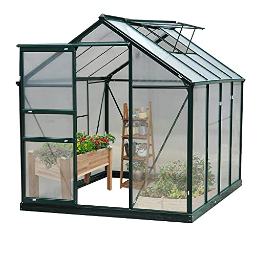 Green House for Plants Outdoor, 6 x 8 x 7 FT Walk-in Polycarbonate Greenhouse Kit, Large Hot House Greenhouses w/Sliding Door and Ventilation Window for Winter (Green, 6 x 8 x 7 FT)