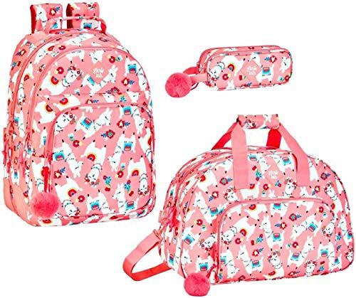 Lama - schoolrugzak, XL sporttas en potloodtas, roze