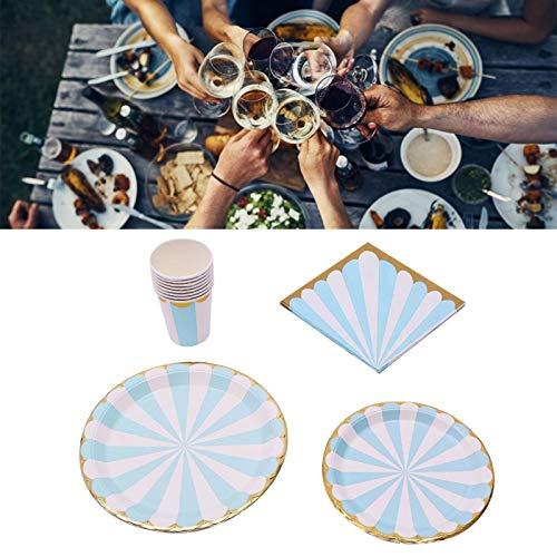 Juego de suministros para fiestas, vajilla azul portátil sin lavado para niños, fiestas, bodas, fiestas de cumpleaños(Ciruela azul)