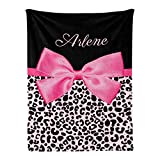 Yeshop Leopard Print Cute Bow Pink Personalized Receiving Baby Blankets for Girls Boys Kids with Name,Cuomized Swaddle Blankets Gift for Newborn Crib Infants 30x40 hes