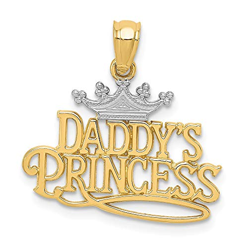 14k Yellow Gold Daddys Princess Pendant Charm Necklace Fine Jewelry For Women Gifts For Her