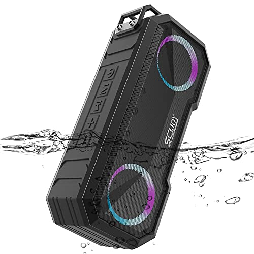 Altavoz 30W Portátil Bluetooth inalámbrico 5.0, 30 Horas IPX7 De Agua luz Led Altavoz, SCIJOY Altavoz InaláMbrico, para El Hogar/Exterior, Ducha, Fiesta, Campo, la Playa la Piscina JardíN Y Garaje