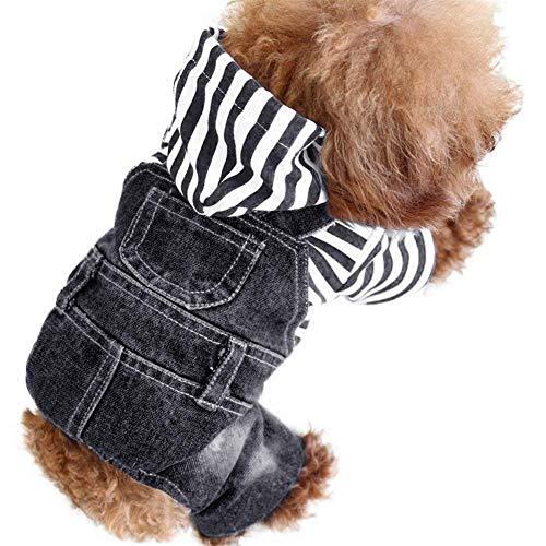 BigBigShop Vintage Washed Denim Jumpsuit Blue Jean Kleding voor huisdieren Hond Kat, X-Large, zwart