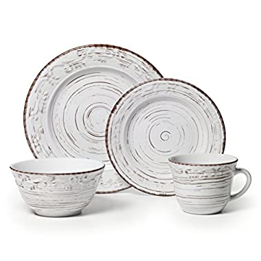 Pfaltzgraff Trellis White 16-Piece Stoneware Dinnerware Set, Service for 4