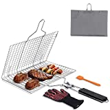 Cnloyua Portable Grilling Basket, Stainless Steel Barbecue Grill Basket for Fish Vegetable Meat Steak Chops with wooden Handle, Basting Brush, Insulation Glove, 32x22cm