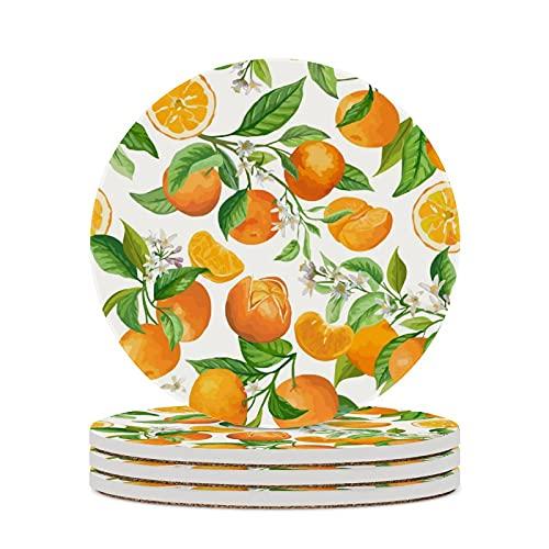 Posavasos para naranjas de vino con hojas, cojín para decoración del hogar, tazas de corcho, almohadillas para mesa de oficina, protección contra la suciedad, tazas redondas, 4 piezas