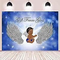 NEWボーイシルバースパークルウイングスオープンブルーボケケーキ表のための神ベビーシャワーパーティーの装飾の背景からの贈り物は、写真の背景ビニールの背景の7x5ft用品