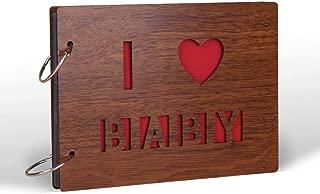 MAETEK Wooden Photo Album, Creative DIY Handmade Anniversary Scrapbook Photo Albums for Wedding Gift, Anniversary, Graduation Travel Memory, Birthday [30 Pages, Cute Photo Sticker], I Love Baby