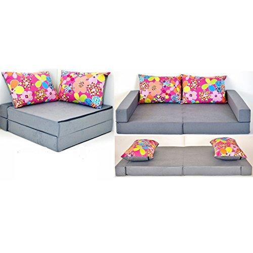 barabike Kindermöbel KK A12 grau-rosa-Blumen Kindersofa Kindermatratze Sitzkissen Spielsofa Minicouch Set + 2 Kissen (KK A12 (grau-rosa-Blumen))