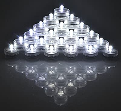 SAMYO Set of 36 Waterproof Wedding Submersible Battery LED Tea Lights Underwater Sub Lights- Wedding Centerpieces Party Decorate (White)