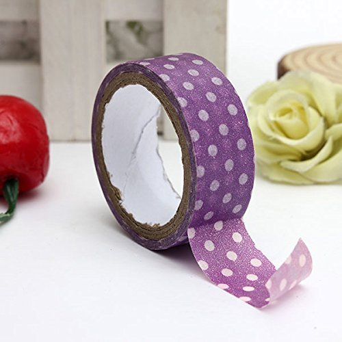 3M Japanese Dot Printing Decorative Washi Tape DIY Sticker (Color:Purple) by YaRich
