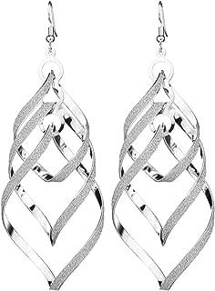 erDouckan Earrings For Women | Female Sequins Spiral Pendant Hook Earrings Long Wave Dangle Wedding Jewelry, Best Gift For Her