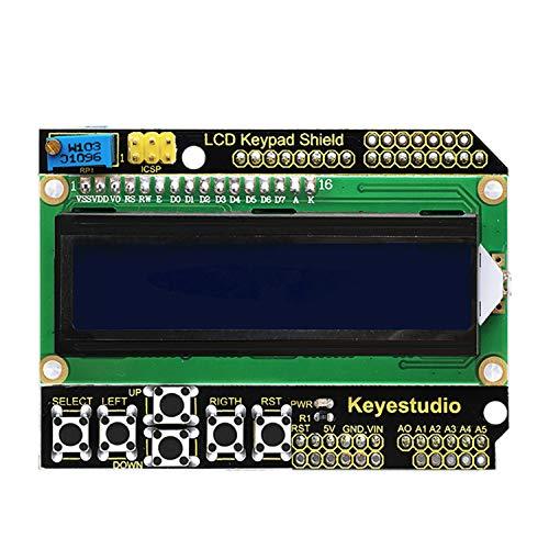 KEYESTUDIO LCD Teclado Escudo Junta Módulo 1602 Compatible con Ajuste de Contraste y Control de para Arduino Mega2560 R3 Kit