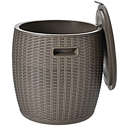 CASART 45L Rattan Effect Ice Bucket, Patio Bar Beer Cooler Table with Carry Handles, Outdoor Coffee Cocktail Table Round Stool for Garden, Party, Deck and Pool (Brown)