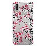 dakanna Funda para [Bq Aquaris X2 - X2 Pro] de Silicona Flexible, Dibujo Diseño [Pattern Flores Rojas Estilo japones], Color [Fondo Transparente] Carcasa Case Cover de Gel TPU para Smartphone