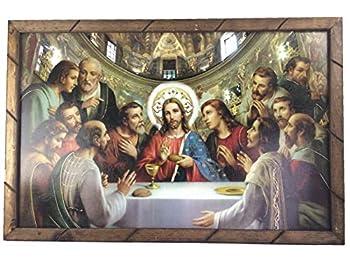 -La Ultima Cena Cuadro Religioso Con Marco De Madera Rustica 36 x24 x1