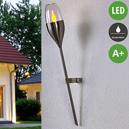Lampenwelt LED Solarleuchte außen \'Jari\' (spritzwassergeschützt) (Modern) in Alu aus Edelstahl (1 flammig, A+, inkl. Leuchtmittel) - Solar-Wandleuchten, Wandlampe für Outdoor & Garten