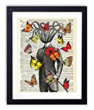 Victorian Gentleman Octopus With Red, Orange and Yellow Butterflies, Upcycled Vintage Dictionary Art Print, Living Room, Bathroom and Home Decor 8x10 Inches, Unframed