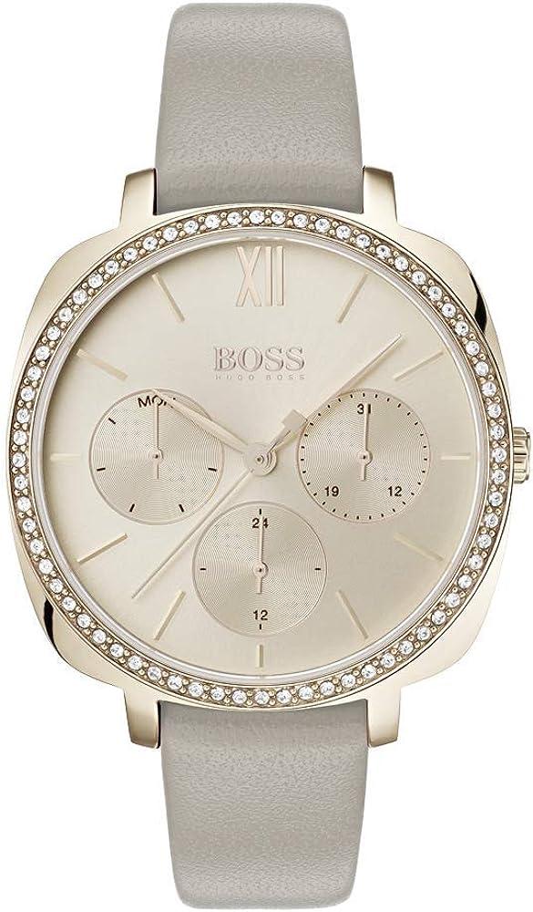Hugo boss orologio multi-quadrante donna con cinturino in pelle quarzo 1502487