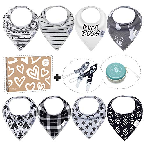 Bandana Bibs for Boys Girls Baby by Bossy Sassy - 8 Pack Teething White Black Baby Bandana Drool Bibs + 1 Multifunctional Case, Best Baby Shower/Registry Gifts Set for Boys Girls Unisex 0-24 Months
