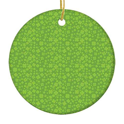 9 shbixmashdho Christmas Ornaments Monochromatic Repetition of Irish Symbol 4 Leaf Clover Botanical Luck ConceptCeramic Ornament Holiday Xmas Tree Decorations Ornament Cute Ceramic 2.85in