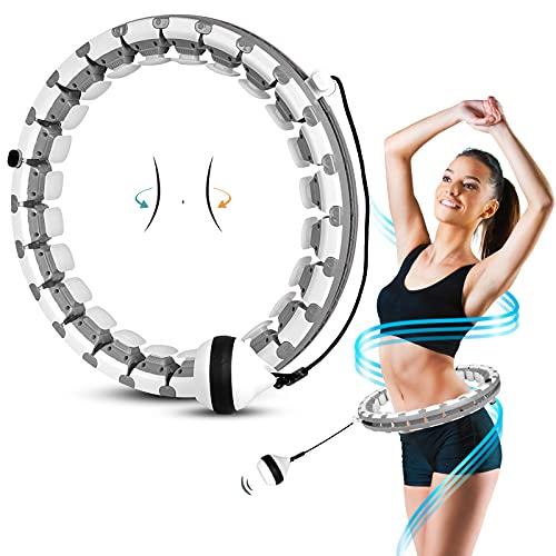 AZ GOGO Fitness Reifen Erwachsene Anfänger, 24 Artikulierte Hoop Smart Reifen mit Massagenoppen, Intelligent Hula Reifen für Kinder Erwachsene, zum Abnehmen, Fitness, Massage, Training