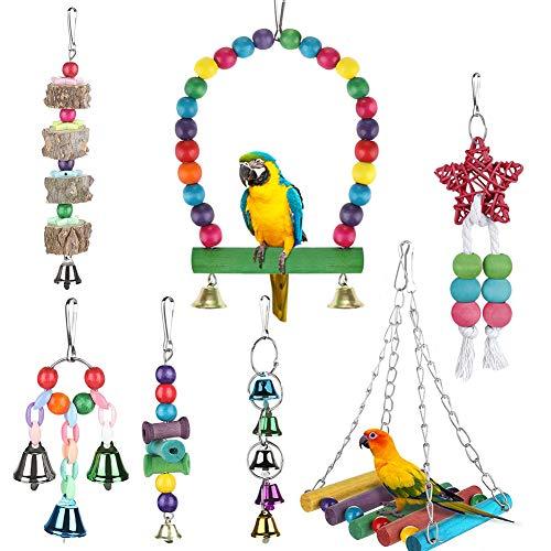 FOXNSK Papageienspielzeug, zum Aufhängen, Glocke, Vogelkäfig-Spielzeug, geeignet für kleine Sittiche, Nymphensittiche, Finken, Wellensittiche, Aras, Papageien, Liebesvögel, 7 Stück