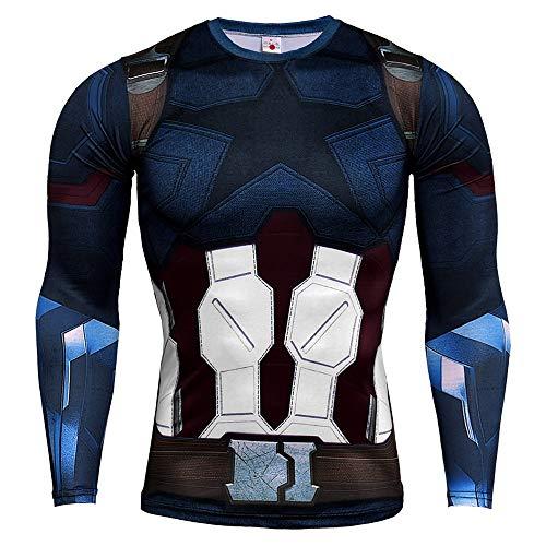 HOOLAZA Camiseta de compresión de Manga Larga de los héroes más poderosos de la Tierra Spider Superman Batman Iron Man Capitán Améric