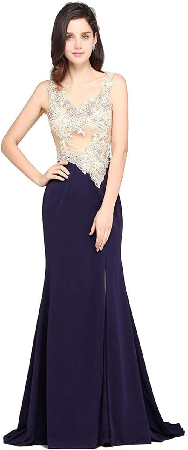 Seasail Long Mermaid Prom Dress Evening Dresses 2019 Sexy See Through Applique High Split Party Formal Gowns