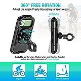 ENONEO Soporte Movil Moto Impermeable 360°Rotación Universal Soporte Movil Bicicleta con Pantalla Táctil Sensible Anti Vibración Soporte Telefono Bicicleta Montaña para 5.5-6.8' Móvil (Negro,l)